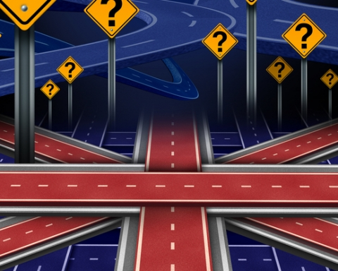 British European question as a brexit concept pertaining to the UK vote confusion and Euro zone and Europe membership decision as a group of roads shaped as the flag of Britain as a 3D illustration.